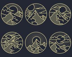 Mountain vintage line art vector illustration