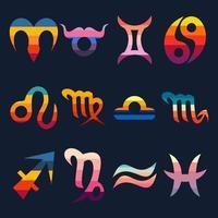 Zodiac signs retro vector illustration