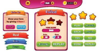 Escena del menú del juego de selección de nivel con botones de barra de carga y estrellas pro vector