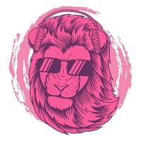 Cool lion Pink headphone vector illustration