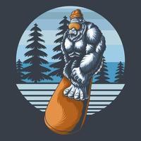 Yeti plays snowboard vector illustration