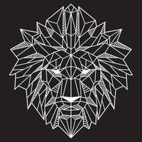Cabeza de león de polígono bajo abstracto blanco sobre ilustración de vector de color negro