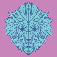 Abstract Low Polygon Lion Head With Light Blue And Pink Color Vector Illustration