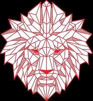 Ilustración de vector de color rojo cabeza de león de polígono bajo abstracto