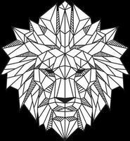 Ilustración de vector blanco y negro de cabeza de león de polígono bajo abstracto