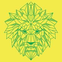 Cabeza de león de polígono bajo abstracto verde sobre ilustración de vector de color amarillo