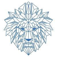 Ilustración de vector de color azul y blanco de cabeza de león de polígono bajo abstracto