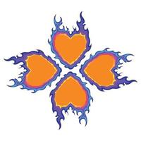 Orange And Purple Color Burning Flame Shaped Four Leaf Clover Vector Pattern