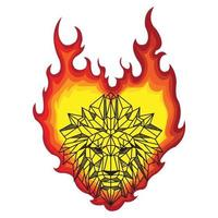 Burning Flame Shaped Low Polygon Lion Head Portrait vector