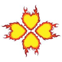 Burning Flame Shaped Four Leaf Clover Vector Pattern