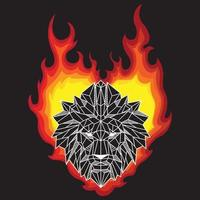 Abstract Black And White Color Low Polygon Lion Head On Burning Flames vector