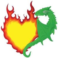Single dragon holding on to the heart in the form of a burning flame vector