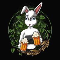 Conejo sexy ofrece una ilustración de vector de cerveza