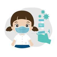 Doctor injects vaccine in kid  shoulder vector