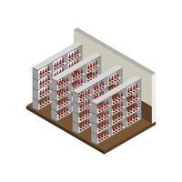sala de bodega isométrica vector