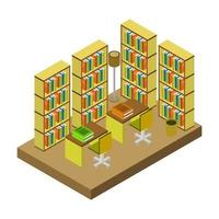 Isometric Library Room vector