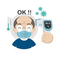 Senior measuring body temperature and wearing a face mask vector illustration