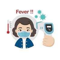 Woman measuring body temperature and wearing a face mask vector illustration