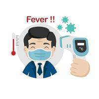 Man measuring body temperature and wearing a face mask vector illustration