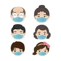 Group of people wearing medical masks vector