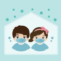 Boy and Girl wear medical face masks and staying at home during Coronavirus pandemic vector