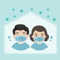 People wear medical face masks and staying at home during Coronavirus pandemic vector