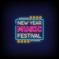 New Year Music Festival Neon Signs Style Text Vector