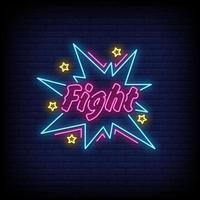 lucha, letreros de neón, estilo, texto, vector