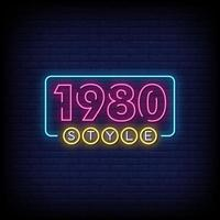 1980 styles Neon Signs Style Text Vector