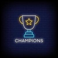 vector de texto de estilo de letreros de neón de campeones