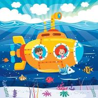 Cartoon Submarine Under The Sea vector