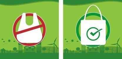 Reducir la contaminación concepto de bolsas de plástico. vector