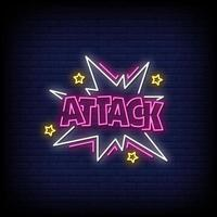 Attack Neon Signs Style Text Vector