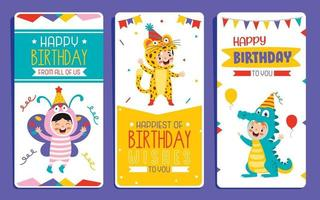 Cute Colorful Birthday Card Template vector