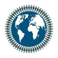 People standing around globe concept vector