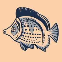 Tropical fish illustration with pattern on the white background vector