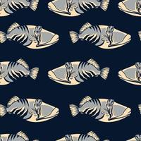 Colored seamless pattern with fish vector