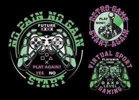 mini conjunto de emblemas sobre el tema de los juegos. vector