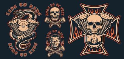 conjunto de emblemas de motociclista sobre un fondo oscuro vector