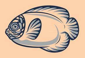 Exotic fish illustration vector in cartoon style