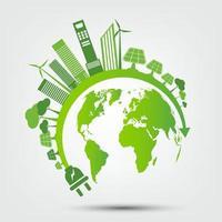 Eco green global energy concept vector