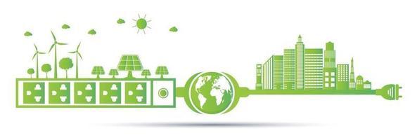 Eco green energy cities concept vector