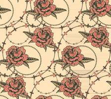Seamless pattern with flowers and chains vector