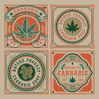 Set of vector emblem of cannabis leaf