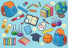 Stationery and science school object design vector