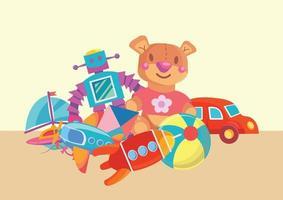 robots teddy bear car ball bost etc vector