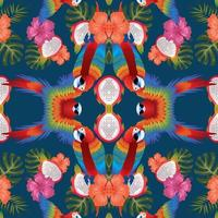 macow dragon fruits leaf and florals seamless on blue background vector