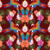tropical leaf florals macow birds seamless vector