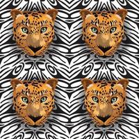 tiger seamless on black and white background vector