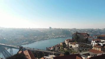 Panoramic of Porto and Vila Nova de Gaia cities, Portugal. Aerial view video